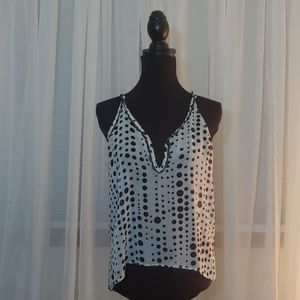 Beautiful tank cami white with black dots S